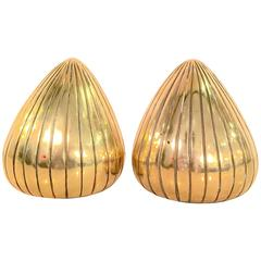 Pair of Polished Brass Bookends by Ben Siebel