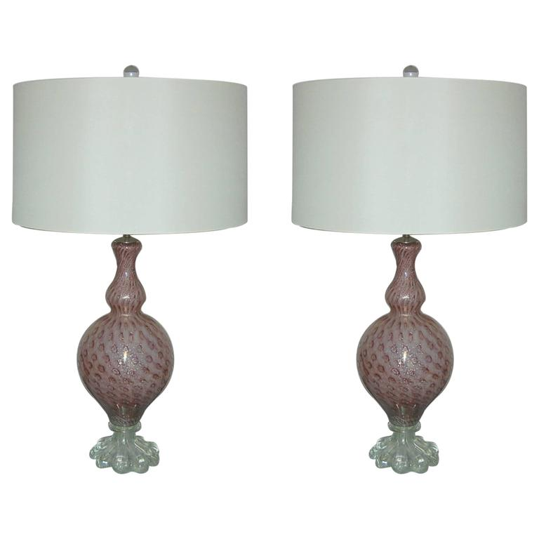 lavender murano vintage italian table lamps for sale at. Black Bedroom Furniture Sets. Home Design Ideas