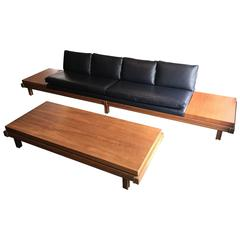 Martin Borenstein Walnut And Leather Gondola Sofa And Matching Coffee Table
