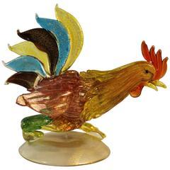 'Fornasa De Murano A L'Insegna Del Moreto' Italian Art Glass Fighting Rooster