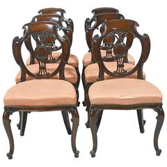 Set of Six Formal American Mahogany Dining Chairs in a French Style, circa 1890