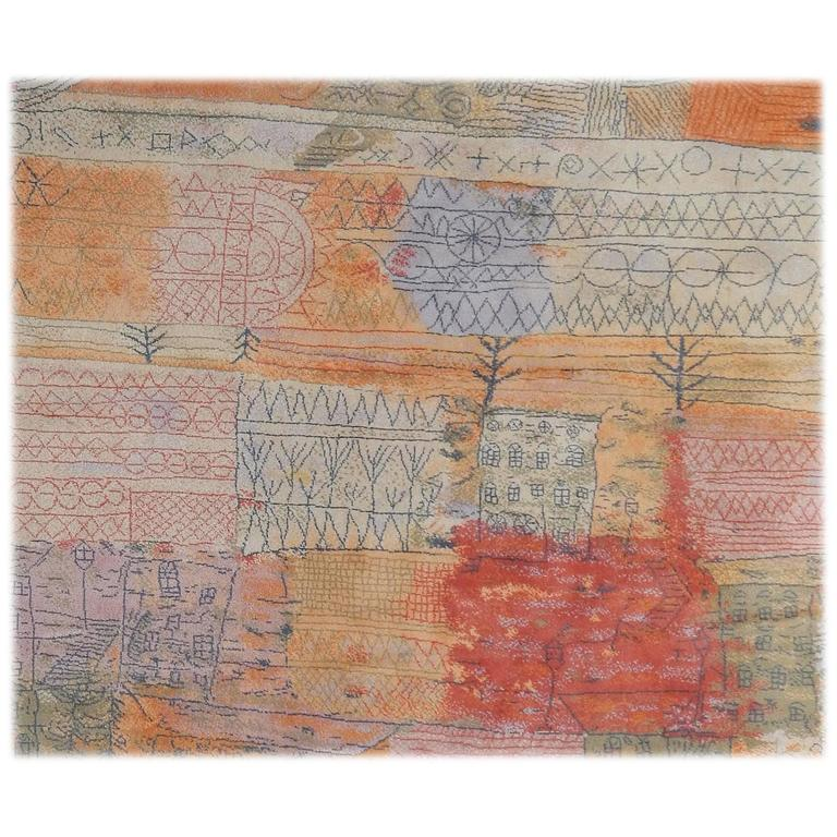 Large Western Rugs: Large Wool EGE Area Rug, Paul Klee Design, 1926