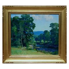 "Connecticut Impressionist Woman Painter Harriet Lumis ""River at Cummington"""