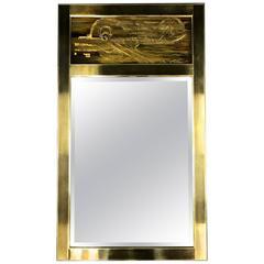Mastercraft Brass Mirror with Bernhard Rohne Acid-Etched Panel A