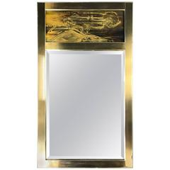 Mastercraft Brass Mirror with Acid Etched Panel by Bernhard Rohne B
