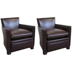 Pair of French Art Deco Leather Club Chairs, circa 1930s