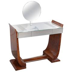 French Art Deco Vanity with Mirror and Lighted Tabletop, circa 1930s