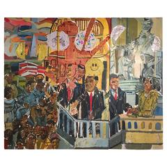 Inauguration of President Barack Obama Triptych Painting by Clintel Steed, 2008