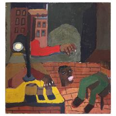Feeling Displaced in Harlem Painting by New York City Artist Clintel Steed, 2001