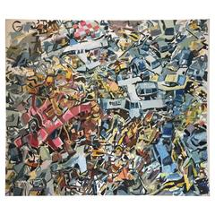 Aerial View of Tsunami Oil Painting by New York City Artist Clintel Steed, 2011