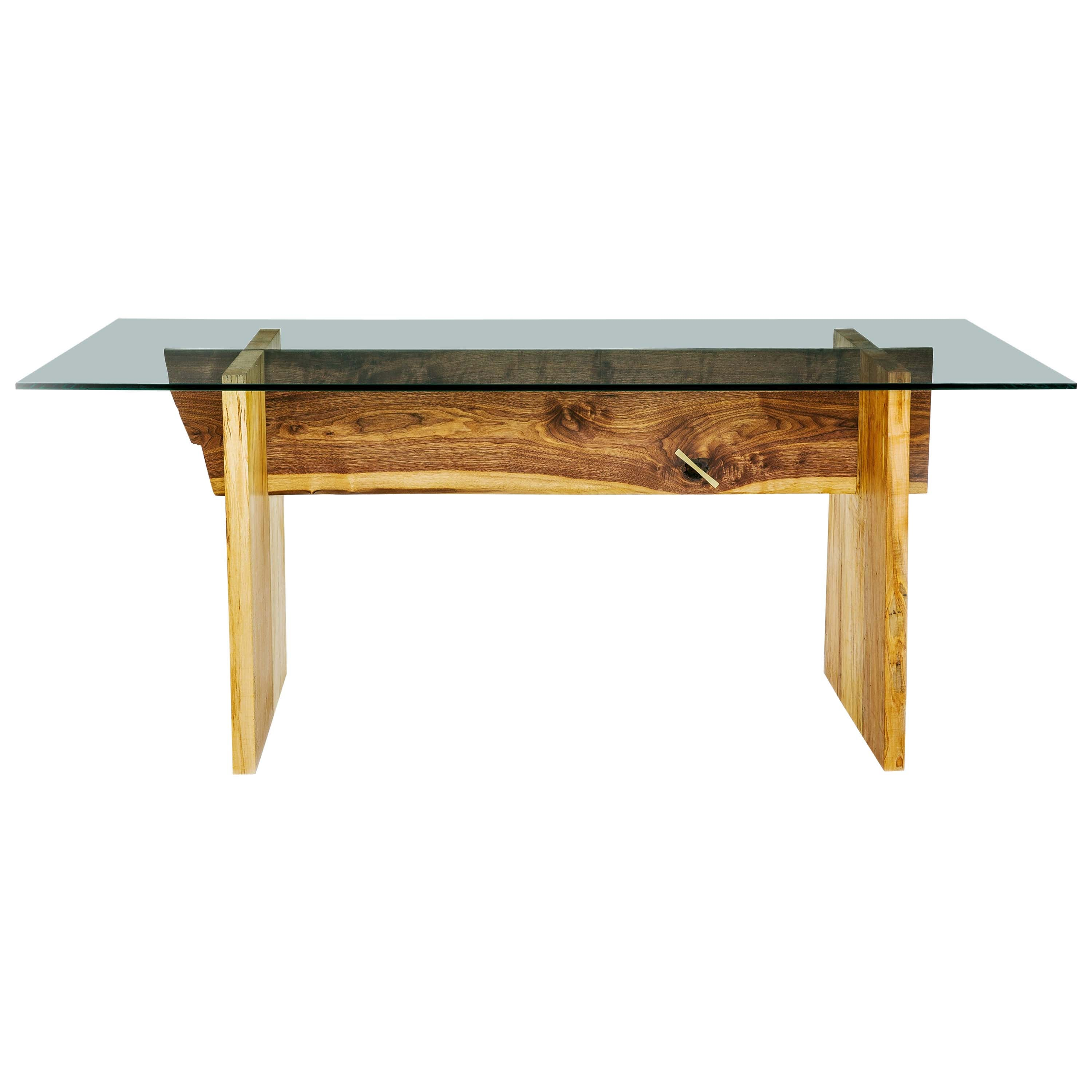 Luxe Walnut and Maple Slab Base, Glass Top Dining Table