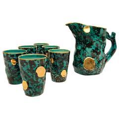 Ceramic Pitcher and Six Mugs by Ceramiche Pucci, 1950s