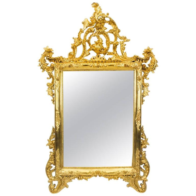 Stunning italian rococo giltwood decorative mirror for for Fancy mirrors for sale