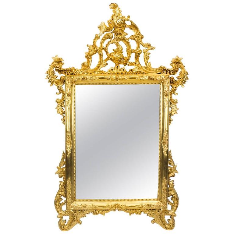Stunning italian rococo giltwood decorative mirror for for Decorative floor length mirrors