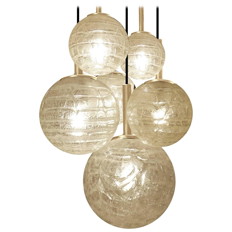 Mid Mod Modern Doria Patterned Smoke Toned Glass Globe Pendant