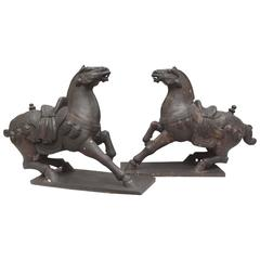 Large Mirror Image Pair of Hand-Carved Wood Horses