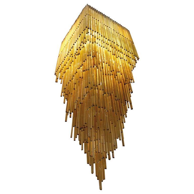 Important Large Chandelier Venini, Model Triedro, Murano, 1960