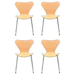 Set of Four Stackable Arne Jacobsen for Fritz Hansen Chairs
