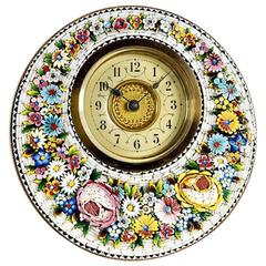 Very Decorative Round Micro Mosaic Desk Timepiece Clock, circa 1890