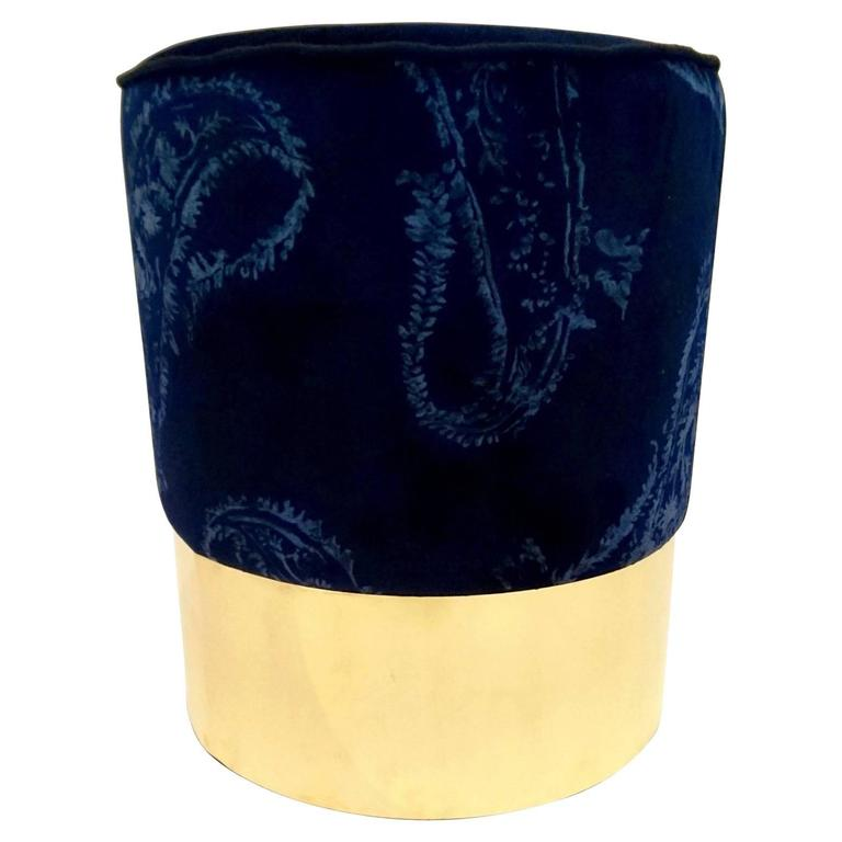 Pouf in brass and Printed Velvet, Italy