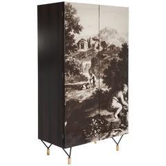 "Italian Mid-Century, Palisander Cupboard in the Style of ""Fornasetti"""