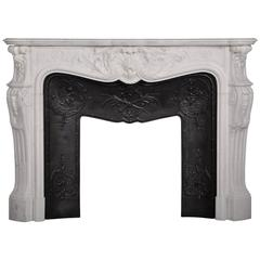 """Marquise de Tournelle"" Louis XV Style Fireplace in Carrara White Marble"