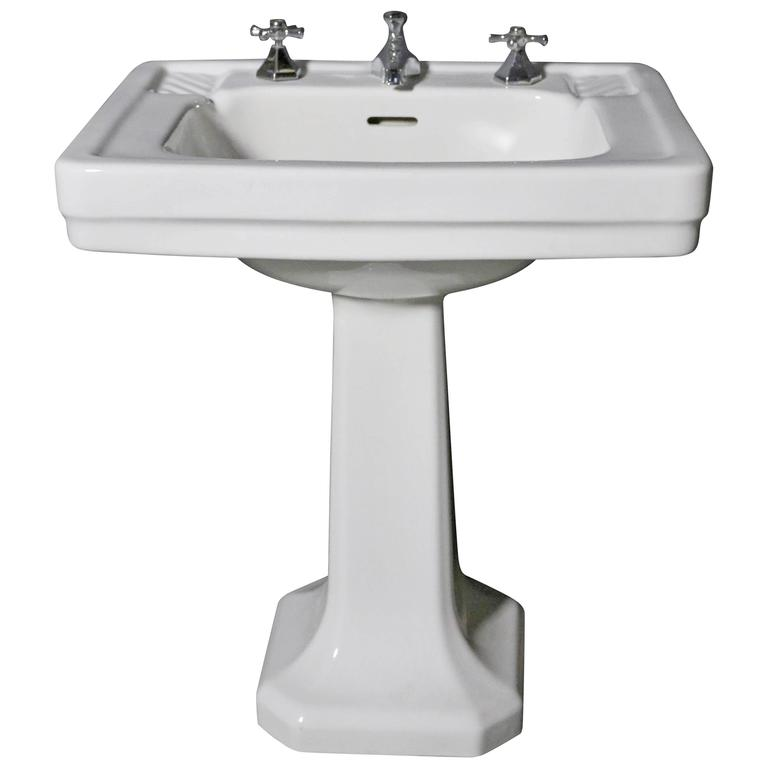 art deco bathroom sinks original deco pedestal basin with taps for at 1stdibs 15438