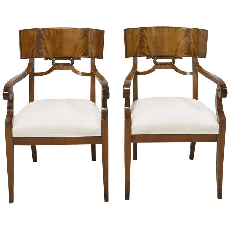Pair of Karl Johan Style Swedish Empire Klismo Chairs in Cuban Mahogany For Sale