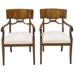 Pair of Karl Johan Style Swedish Empire Klismo Chairs in Cuban Mahogany