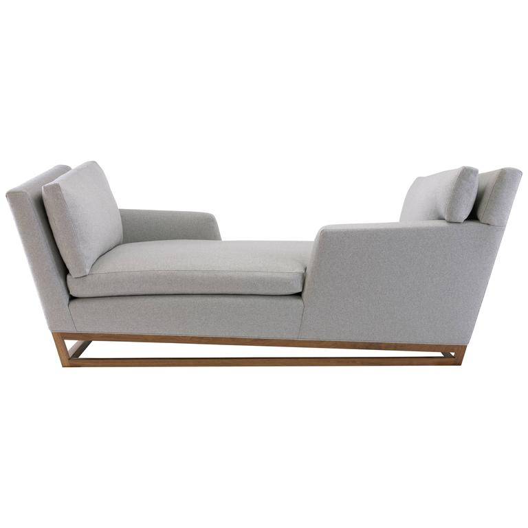 New Contemporary/Modern Handmade Tete-a-tete Sofa, Wool Fabric with Walnut
