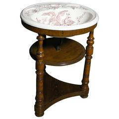 Victorian Transfer Printed Wash Basin on Walnut Stand