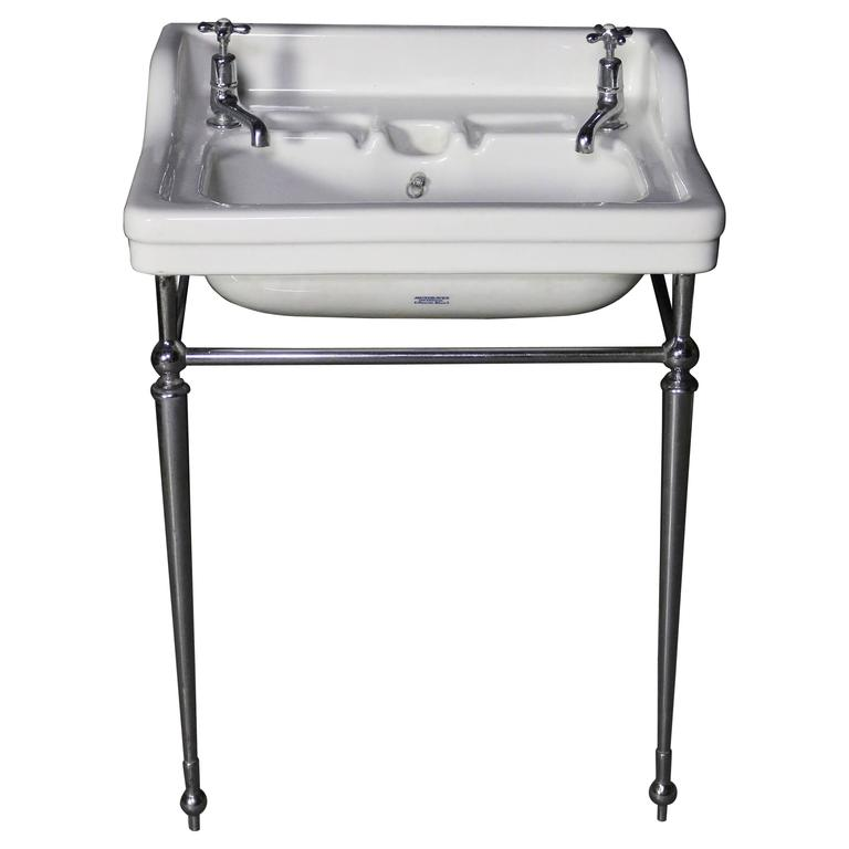Musgraves Basin or Sink with Chrome Stand, circa 1920s