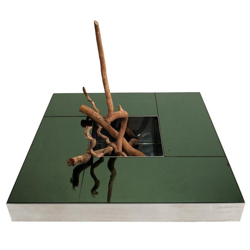 Inox & Mirrored Shillings Table by Ausenda, Baldo Grossi & Gavioli NY Form 1970