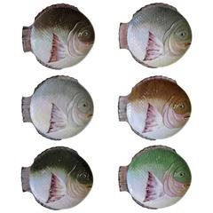 Victorian English Staffordshire Hand-Painted Porcelain Fish Plates, Set of Six