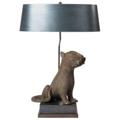 Mid Century Bronze Leopard from Benin, Purpose-Built Lamp Construction