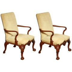 Pair of George II Walnut Library Chairs