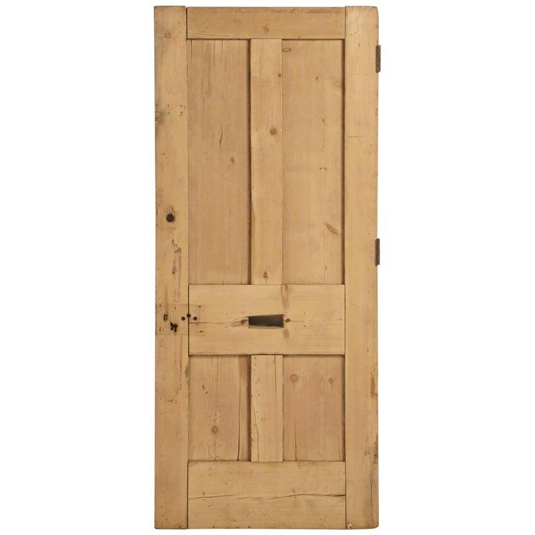 Antique Irish Pine Scrubbed Exterior Door For Sale