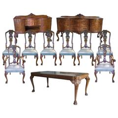 Exceptional Quality 1920s Burr Walnut Queen Anne Style Dining Room Suite