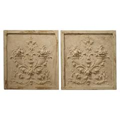 Pair of Architectural Panels from France, Plaster and Wood