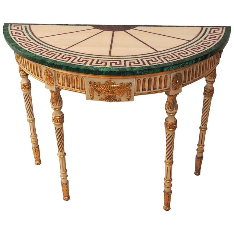 Beau Wonderful French Carved Wood Malachite Marble Greek Key Demilune Console  Table For Sale