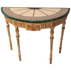 Wonderful French Carved Wood Malachite Marble Greek Key Demilune Console Table