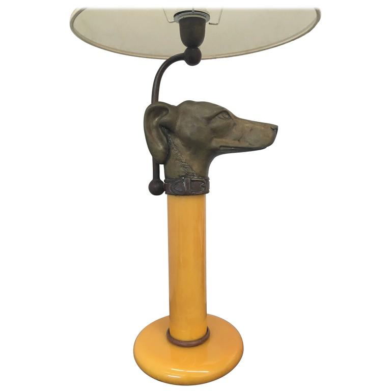 Rare Bronze and Glass Table Lamp