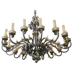 Large French Wrought Iron Sixteen-Branch Chandelier