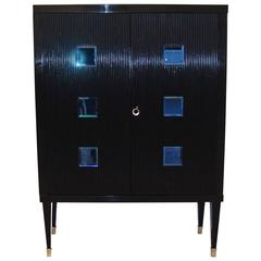 1950s Italian Black and Blue Cabinet Attributed to Paolo Buffa