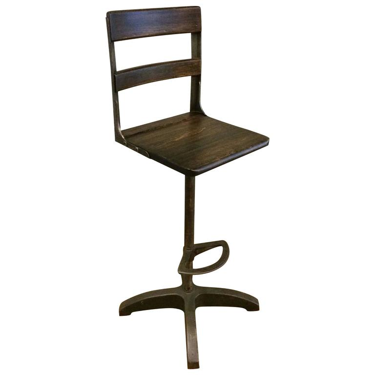 Custom Industrial Maple and Brushed Steel Drafting Stool