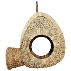 Bwa Leaf Mask Sculptural Hanging Seat in Woven Leather and Kubu Rattan