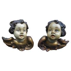 Pair of Early 20th Century Carved and Painted Angels or Putti for Wall Mounting