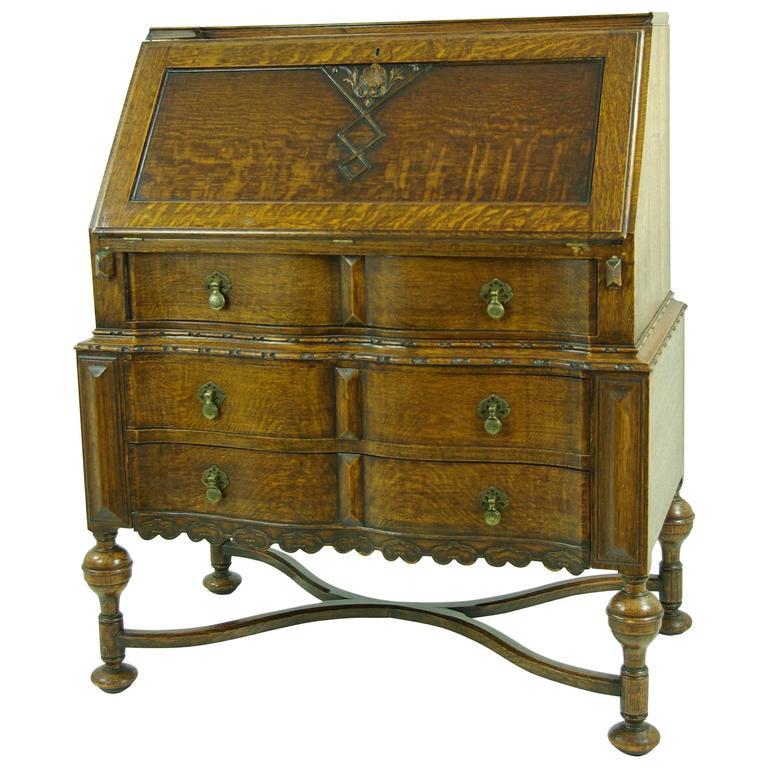 Antique Drop Front Desk, Tiger Oak, Slant Front Desk, Scotland B525 REDUCED! - Antique American Slant Front Desk At 1stdibs