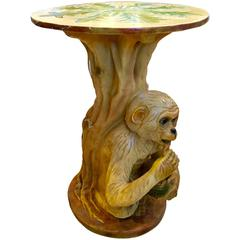 American Mid-Century Modern Hand-Painted Porcelain Monkey Garden Table