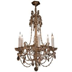 French Small Louis XIV Style Old Silver Plate and Crystal Chandelier, circa 1880